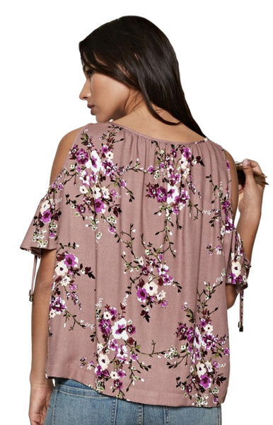 Love Stitch Women's Floral Cold Shoulder Short Sleeved Top With Split Ruffle Sleeves