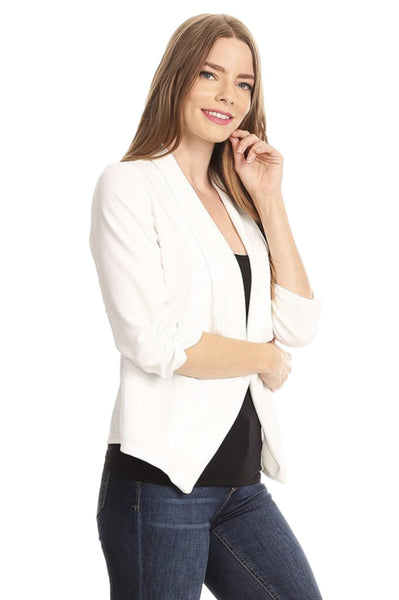 Moa Collection 3/4 Sleeve Open Front Stretch Crepe Jacket/Blazer