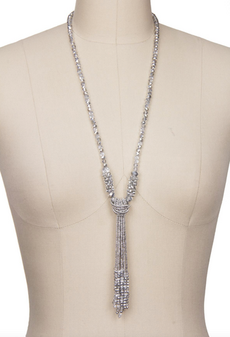 Saachi Long Crystal Knotted Necklace