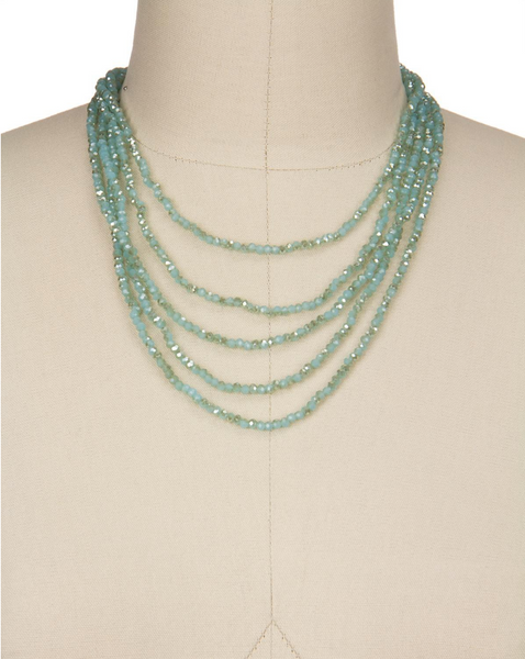Saachi Long Multi Strand Crystal Glass Beaded Necklace