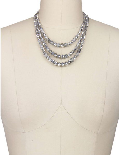 Saachi 3-Tier Silver and Clear Crystal Beaded Necklace