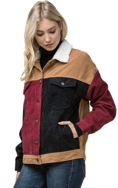 Entro Women's Casual Corduroy Color Block Jacket with Shearling Collar and Pockets