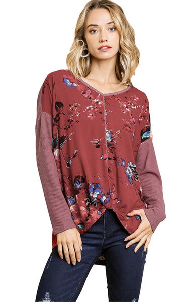 Umgee USA Women's Long Sleeve Color Block Waffle Knit and Floral V-Neck Tunic with Knot Front Knot