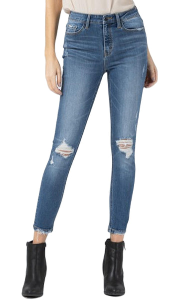 Vervet Jeans Idlehour Blue High Rise Distressed Ankle Skinny