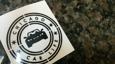 Chicago Car Life decal Black on White