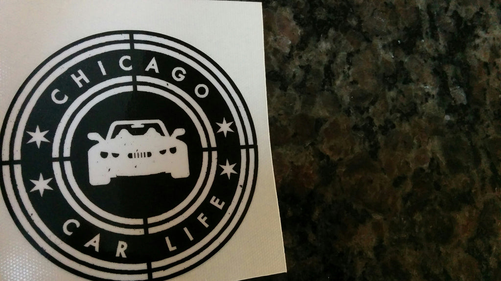 Chicago Car Life decal White on Black