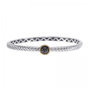18kt Gold and Sterling Silver Bracelet with Black Diamonds