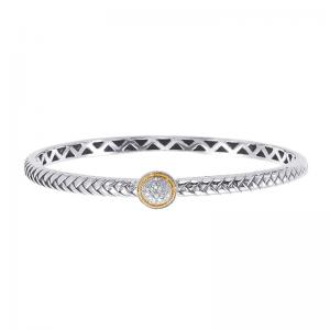 18kt Gold and Sterling Silver Bracelet with Diamonds