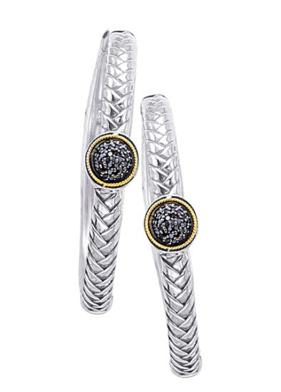 18kt Gold and Sterling Silver Earrings with Black Diamonds