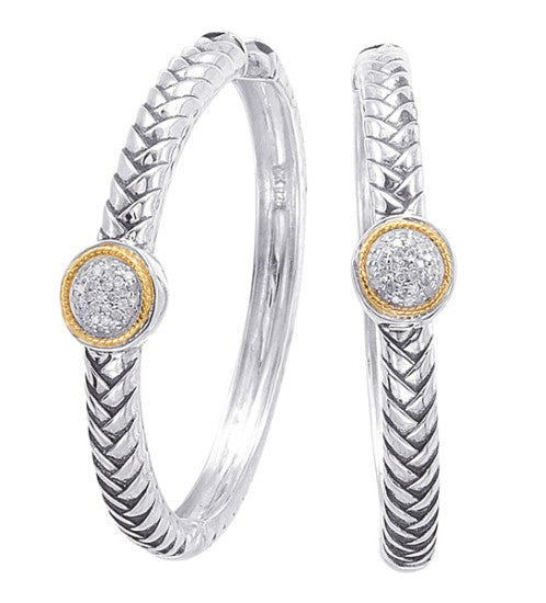 18kt Gold and Sterling Silver Earrings with Diamond