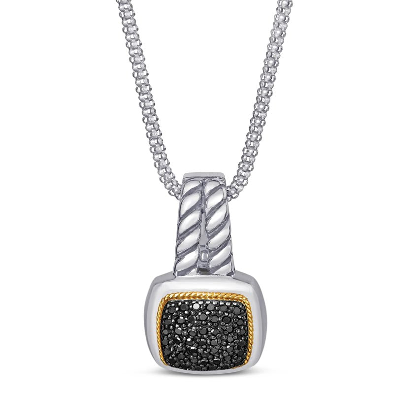 18kt Gold and Sterling Silver Pendant with Black Diamonds