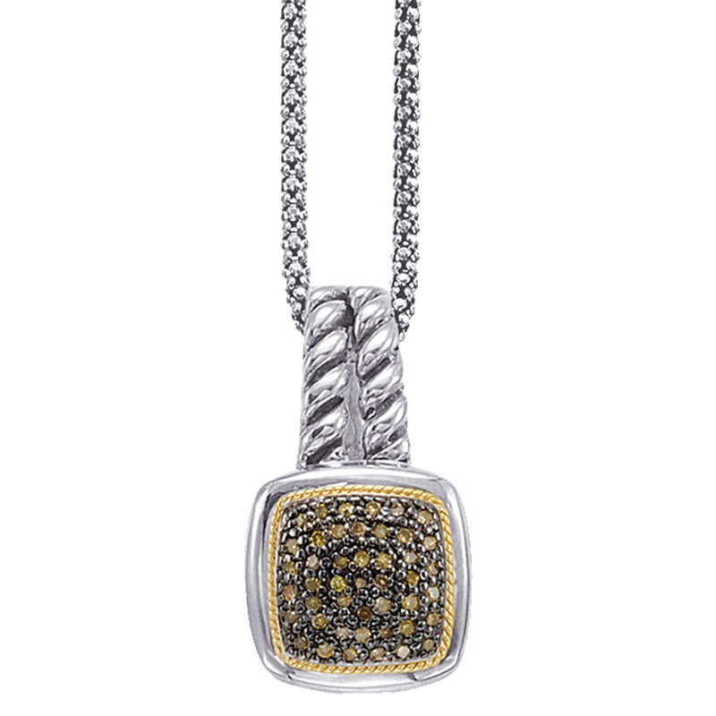 18kt Gold and Sterling Silver Pendant with Champagne Diamonds