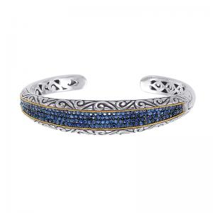18kt Gold and Sterling Silver Bracelet with Sapphire