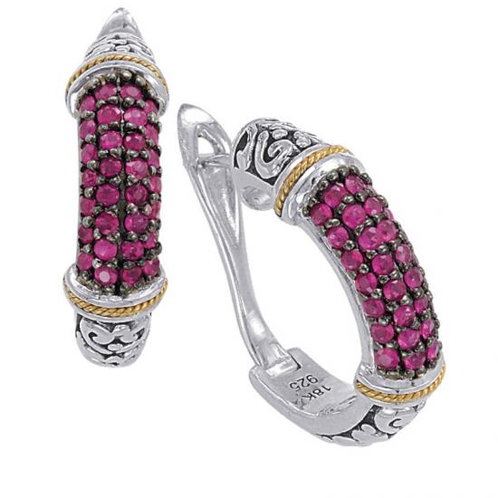 18kt Gold and Sterling Silver Earrings with Ruby
