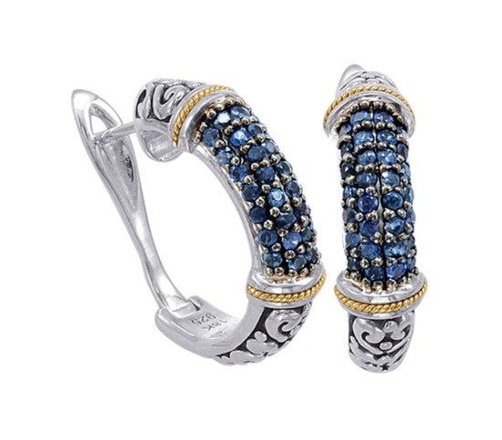 18kt Gold and Sterling Silver Earrings with Sapphire