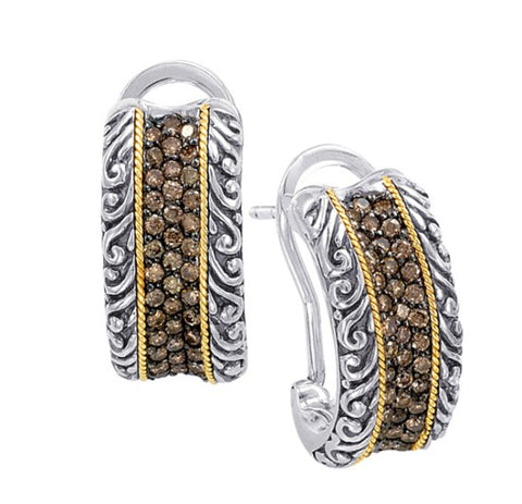 18kt Gold and Sterling Silver Earrings with Champagne Diamonds