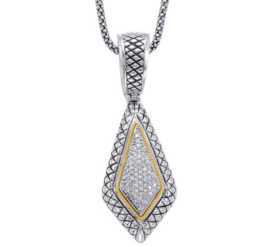 18kt Gold and Sterling Silver Pendant with Diamonds