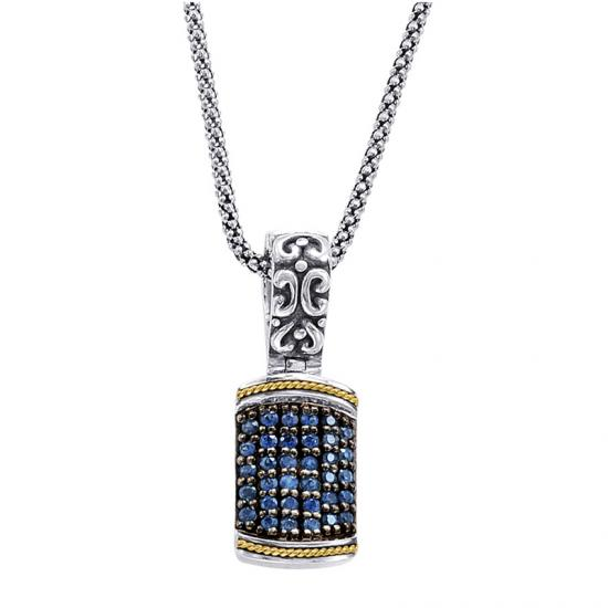 18kt Gold and Sterling Silver Pendant with Blue Sapphires