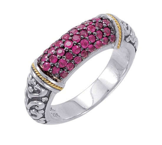 18kt Gold and Sterling Silver Ring with Ruby