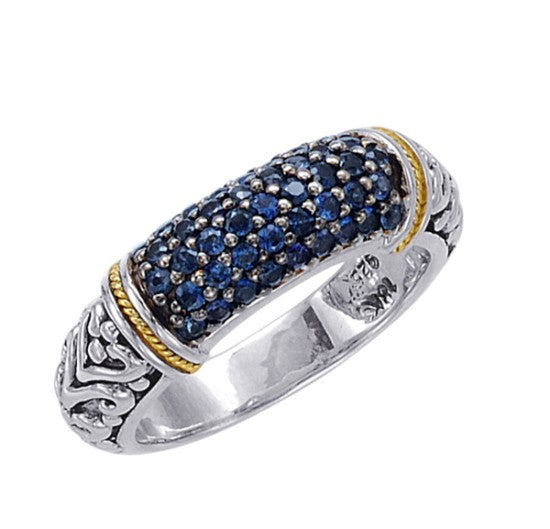18kt Gold and Sterling Silver Ring with Blue Sapphires