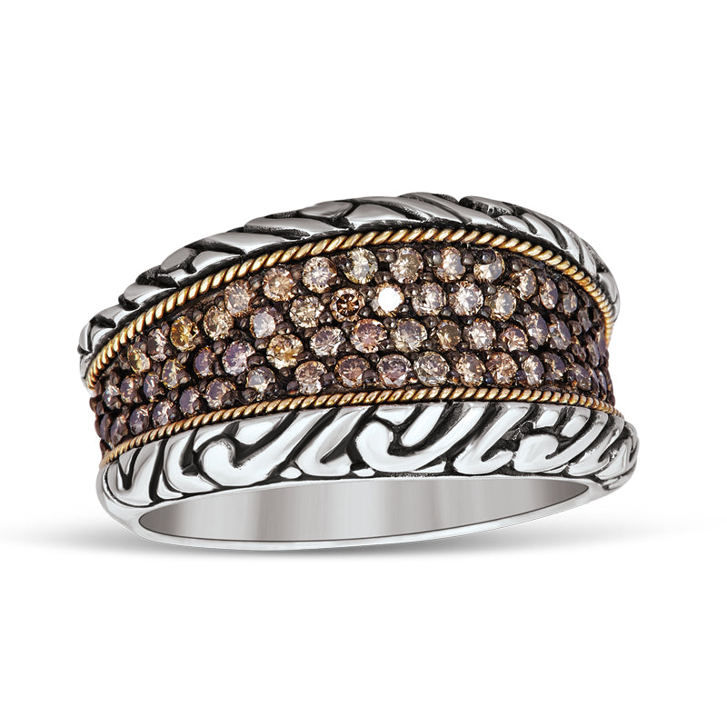 18kt Gold and Sterling Silver with Brown Diamonds