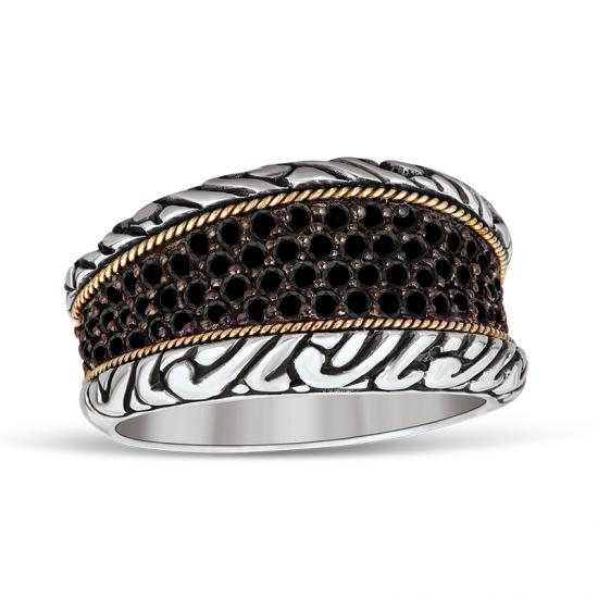 18kt Gold and Sterling Silver Ring with Black Diamonds