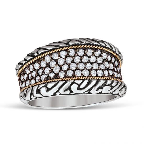 18kt Gold and Sterling Silver Ring with Diamonds