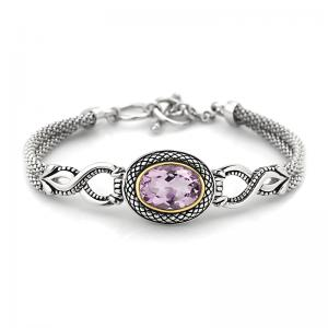 14kt Gold and Sterling Silver Bracelet with Amethyst