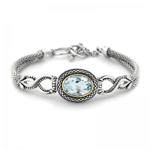 14kt Gold and Sterling Silver Bracelet with Blue Topaz