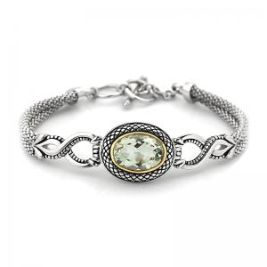 14kt Gold and Sterling Silver Bracelet with Green Amethyst