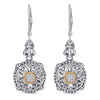 14kt Gold and Sterling Silver Earrings with Diamonds