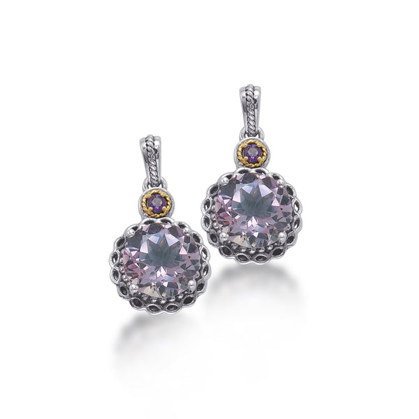 14kt Gold and Sterling Silver Earrings with Pink Amethyst