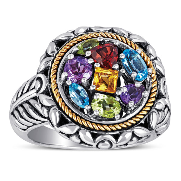 14kt Gold and Sterling Silver Ring with Multi-Color Stones