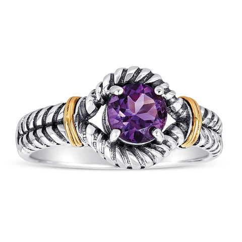 14kt Gold and Stelring Silver Ring with Amethyst