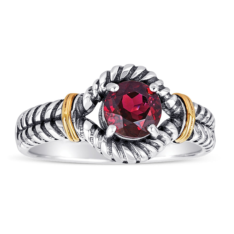 14kt Gold and Sterling Silver Ring with Garnet