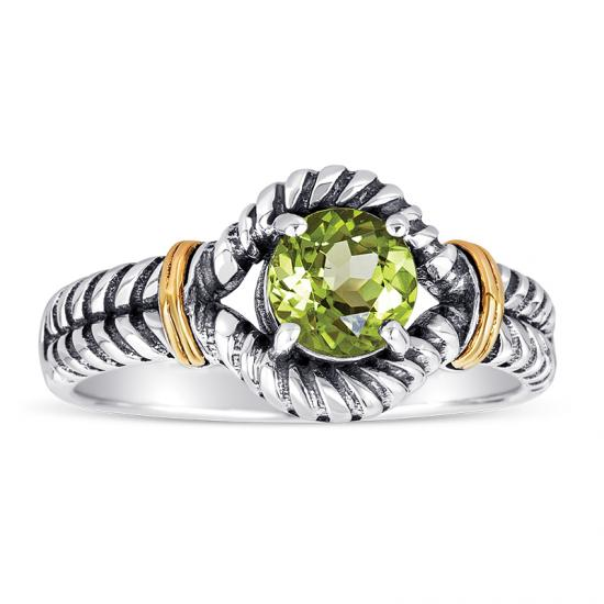 14kt Gold and Sterling Silver Ring with Peridot