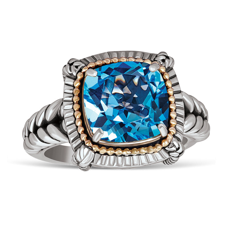 14kt Gold and Sterling Silver Ring with Blue Topaz