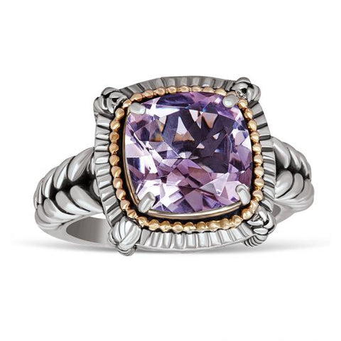 14kt Gold and Sterling Silver Ring with Pink Amethyst Stone