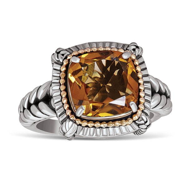 14kt Gold and Sterling Silver Ring with Citrine