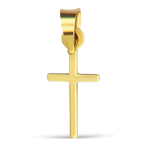 14K Plain Yellow Cross Pendant