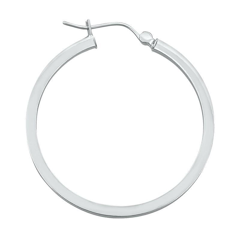 14K White Gold Square Hoop Earrings- 1 1/2 Inch