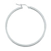 14K White Gold Square Tubed Hoop Earrings- 1 3/4 Inch