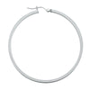 14K White Gold Square Tubed Hoop Earrings- 2 1/4 Inch