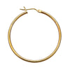 14K Yellow Gold 2mm Hoop Earrings- 1 1/3 Inch