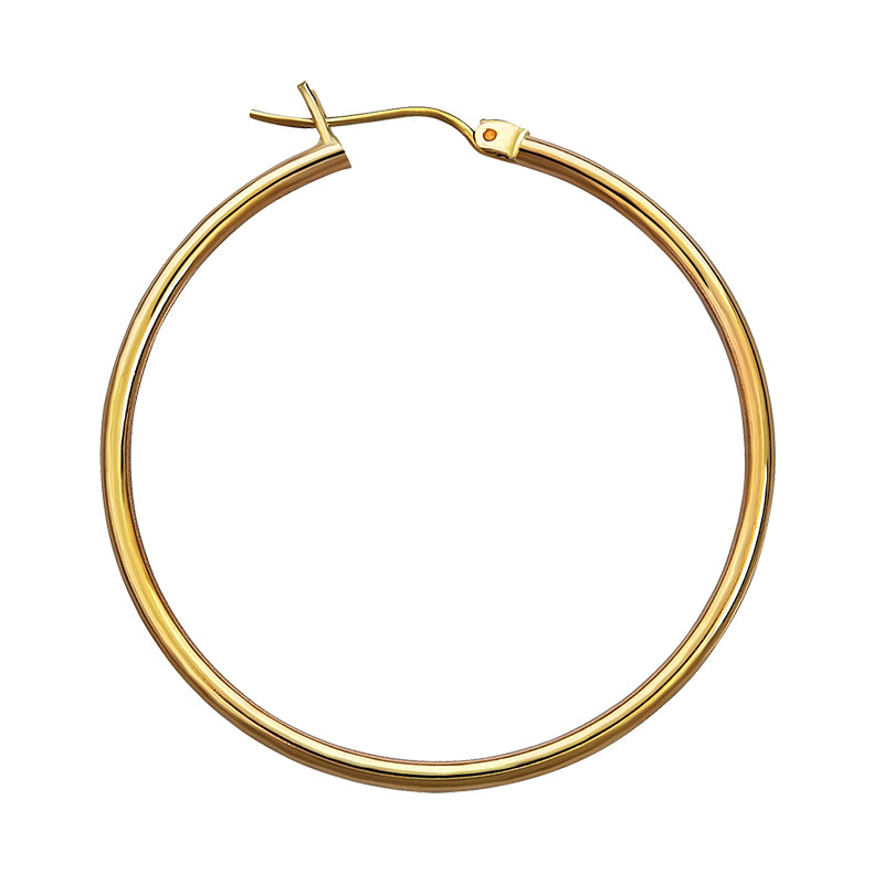 14K Yellow Gold 2mm Hoop Earrings- 1 1/2 Inch
