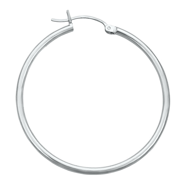14K White Gold High Polish Hoop Earrings- 1 1/4 Inch