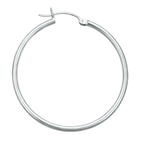 14K White Gold High Polish Hoop Earrings- 1.50 Inch