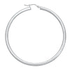 14K White Gold High Polished Hoops Earrings- 3/4 Inch