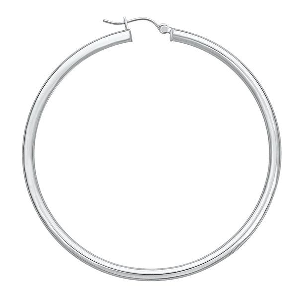 14K White Gold High Polished Hoops Earrings- 1 Inch