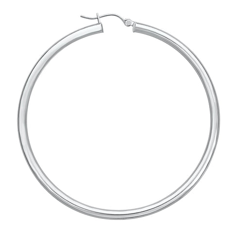 14K White Gold High Polish Hoop Earrings- 1.30 Inch